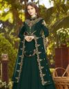 image of Party Style Designer Dark Green Fancy Floor Length Anarkali Dress In Georgette