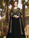 image of Function Wear Georgette Black Long Floor Length Anarkali Salwar Suit