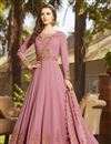 image of Pink Georgette Function Wear Embroidered Long Anarkali Suit