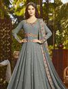 image of Georgette Party Style Designer Floor Length Anarkali Dress In Grey