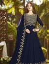 image of Navy Blue Georgette Function Wear Embroidered Long Anarkali Suit