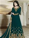 image of Function Wear Embroidered Teal Designer Long Length Anarkali Suit In Georgette