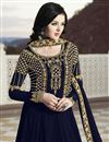 photo of Navy Blue Designer Georgette Function Wear Floor Length Anarkali Dress With Embroidery