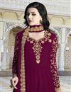 photo of Designer Georgette Function Wear Embroidered Long Length Anarkali Suit In Burgundy Color