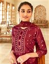 photo of Maroon Color Casual Wear Fancy Bandhej Print Jaam Cotton Fabric Palazzo Suit