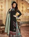 image of Ready To Ship Georgette Black Embroidered Designer Suit With Printed Palazzo