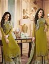 image of Ready To Ship Occasion Wear Khaki Color Embroidered Dress With Printed Palazzo In Georgette
