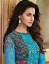 photo of Ready To Ship Sky Blue Embroidery Work On Georgette Function Wear Suirt With Printed Palazzo