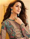 photo of Ready To Ship Georgette Party Wear Chikoo Color Embroidered Suit With Printed Palazzo