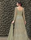photo of Net Fabric Fancy Beige Party Wear Designer Gown With Dupatta