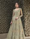 image of Net Fabric Fancy Beige Party Wear Designer Gown With Dupatta