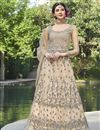 image of Designer Party Wear Net Fabric Fancy Beige Gown With Dupatta