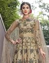 picture of Beige Fancy Net Fabric Party Wear Designer Gown With Dupatta