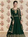 image of Designer Georgette Dark Green Embroidered Function Wear Long Anarkali Suit