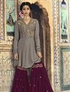 image of Designer Grey Georgette Fancy Sharara Suit From Mother Daughter Collection