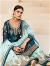 photo of Festive Special Embroidery Work Teal Color Georgette Fabric Sharara Style Palazzo Salwar Suit