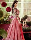 image of Enlivening Pink Color Designer Chanderi Lehenga With Embroidery Work