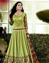 image of Attractive Green Color Designer Chanderi Party Wear  Unstitched Lehenga Choli