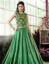image of Beautiful Green Color Designer Embroidered Lehenga Choli In Chanderi Fabric