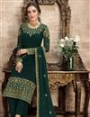 photo of Dark Green Color Function Wear Embroidered Georgette Fabric Palazzo Suit