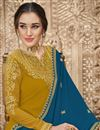 photo of Mustard Color Georgette Fabric Function Wear Embroidered Palazzo Suit