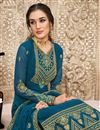 photo of Georgette Fabric Teal Color Embroidered Party Wear Palazzo Suit