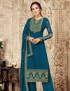 image of Georgette Fabric Teal Color Embroidered Party Wear Palazzo Suit