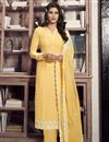 image of Crepe Fabric Festive Wear Chic Printed Straight Cut Dress In Yellow Color