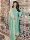image of Cyan Color Festive Wear Printed Straight Cut Dress In Crepe Fabric