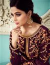 photo of Shamita Shetty Art Silk Fabric Purple Occasion Wear Anarkali Suit With Embroidery Work
