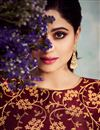 photo of Shamita Shetty Art Silk Fabric Maroon Function Wear Embroidered Anarkali Suit