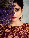 photo of Shamita Shetty Art Silk Fabric Maroon Function Wear Embroidered Anarkali Suit