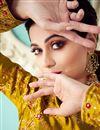 photo of Shamita Shetty Embroidery Work On Art Silk Fabric Golden Wedding Wear Anarkali Salwar Suit