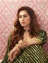 photo of Satin Silk Fabric Function Wear Dark Green Color Sequins Work Lehenga