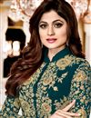 photo of Wedding Special Shamita Shetty Teal Georgette Floor Length Front Slit Anarkali Salwar Kameez