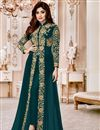 image of Wedding Special Shamita Shetty Teal Georgette Floor Length Front Slit Anarkali Salwar Kameez