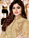 photo of Wedding Special Shamita Shetty Chikoo Georgette Long Anarkali Suit With Front Slit