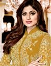 photo of Wedding Special Shamita Shetty Long Front Slit Mustard Anarkali Dress In Georgette