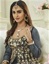 photo of Krystle Dsouza Party Wear Grey Color Silk And Net Floor Length Anarkali Salwar Suit