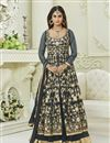 image of Krystle Dsouza Party Wear Grey Color Silk And Net Floor Length Anarkali Salwar Suit