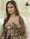 photo of Krystle Dsouza Designer Brown Color Silk And Net Embroidered Long Anarkali Dress