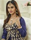 photo of Krystle Dsouza Designer Fancy Blue Color Silk And Net Party Wear Floor Length Anarkali Suit