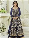 image of Krystle Dsouza Designer Fancy Blue Color Silk And Net Party Wear Floor Length Anarkali Suit