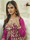 photo of Krystle Dsouza Fancy Party Wear Rani Color Silk And Net Designer Floor Length Anarkali