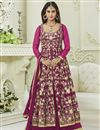 image of Krystle Dsouza Fancy Party Wear Rani Color Silk And Net Designer Floor Length Anarkali
