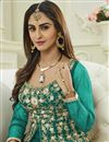 photo of Krystle Dsouza Fancy Party Wear Teal Color Silk And Net Designer Floor Length Anarkali