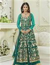image of Krystle Dsouza Fancy Party Wear Teal Color Silk And Net Designer Floor Length Anarkali