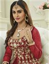 photo of Krystle Dsouza Designer Red Color Silk And Net Embroidered Long Anarkali Dress