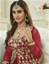 photo of Krystle Dsouza Designer Red Color Silk And Net Embroidered Long Anarkali Dress