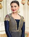 photo of Eid Special Gauhar Khan Navy Blue Designer Embroidered Anarkali Suit In Art Silk And Net Fabric